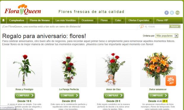 Encargar flores para el aniversario