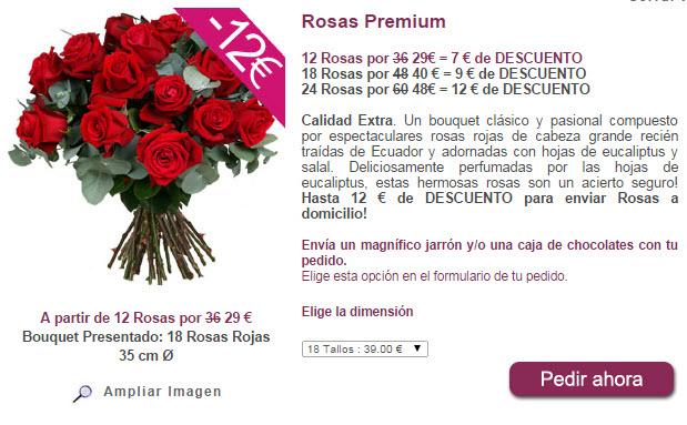 comprar 12 rosas rojas