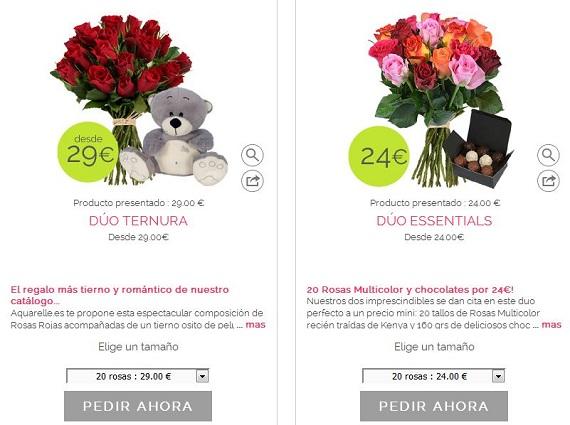 rosas y bombones baratos