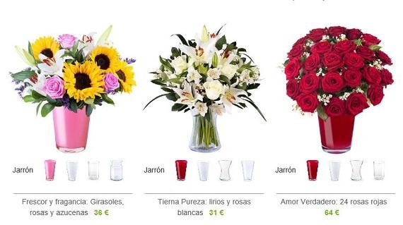 flores con jarrón a domicilio