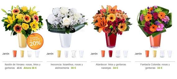 flores con jarrón ofertas