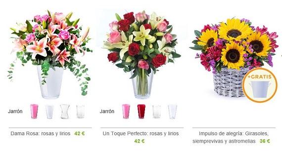 flores con jarrón precios