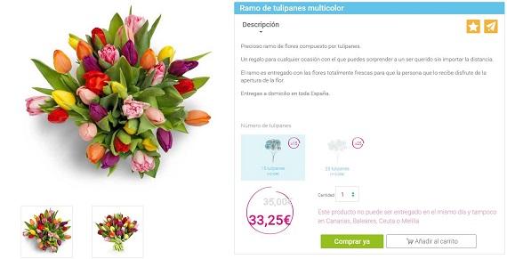 ramos de tulipanes multicolor