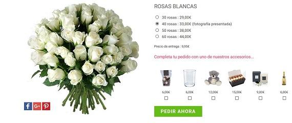 mandar ramos de rosas blancas