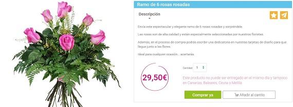 mandar ramos de rosas rosas