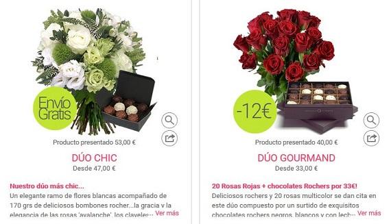 ofertas de flores y bombones
